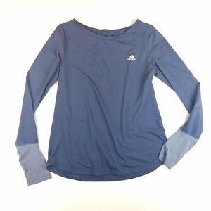 Womens Adidas Blue Climalite Long Sleeve Top
